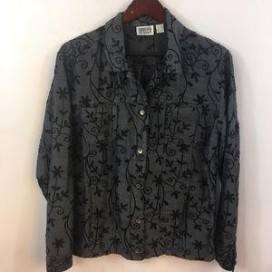 CHICO'S 1 Design Silk Shirt Floral Embroidered S/M